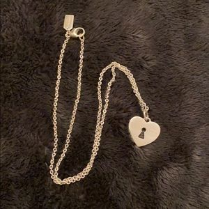COACH Sterling Silver Heart & Lock Necklace